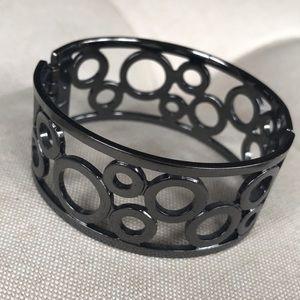 Gunmetal cuff bracelet with circle design
